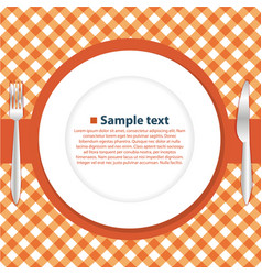 Plate on the tablecloth vector