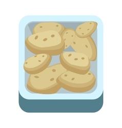 Potatoes in tray flat design vector