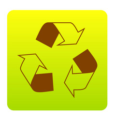 Recycle logo concept brown icon at green vector