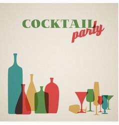 Retro coctail party invitation card vector