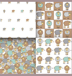 Set of seamless patterns with sheep vector
