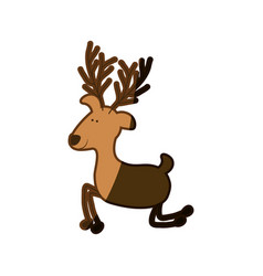 Silhouette caricature color of funny reindeer of vector