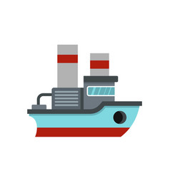 Small ship icon flat style vector