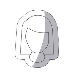 Sticker silver square button with faceless vector