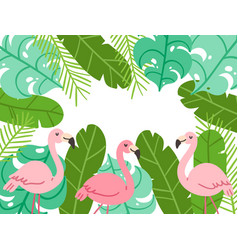 Tropical flamingo frame background vector