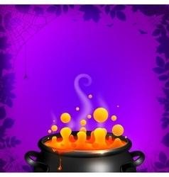Yellow potion in black cauldron on orange vector image vector image