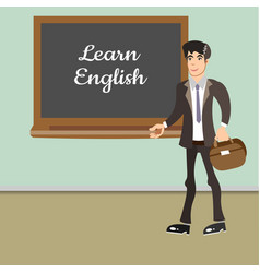 Young teacher by blackboard vector