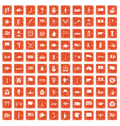 100 national flag icons set grunge orange vector