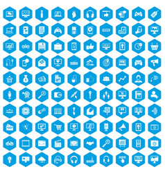 100 web and mobile icons set blue vector