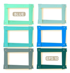 Wooden picture frames blue set vector