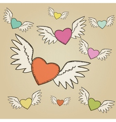 Set of hand-drawn colorful flying hearts vector