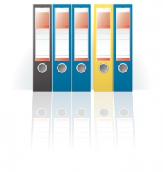Row of colored ring binders vector