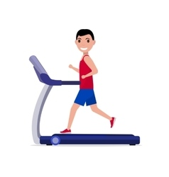 Cartoon boy man running on a treadmill vector