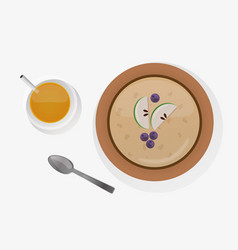 Semolina porridge breakfast top view vector