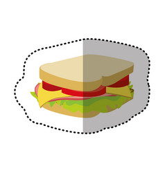 colorful sandwich fast food icon vector image