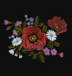 Embroidery colorful floral pattern with poppy and vector
