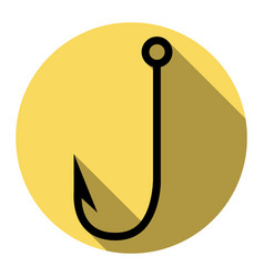 fishing hook sign   flat black vector image