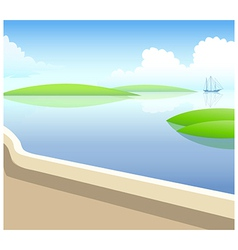 Sailing boat in water vector