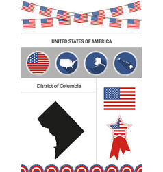 Map of district of columbia set of flat design vector
