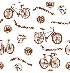 Bycicle funny seamless pattern vector image