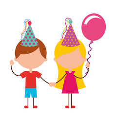 Cute kids with balloons air party characters icon vector