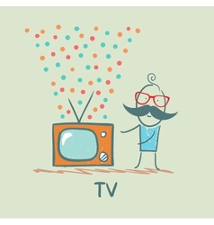 man standing next to the best TV vector image