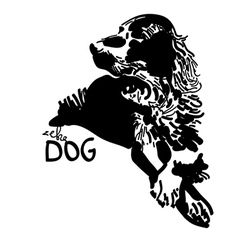 Black and white dog vector