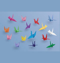 Set of paper birds on blue backgroundthe art of vector