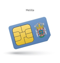 Melilla mobile phone sim card with flag vector