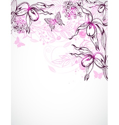 floral background with orchids vector image
