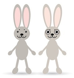 Set of two cute rabbits on a white background vector