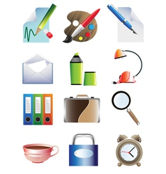 Set of office icons vector image