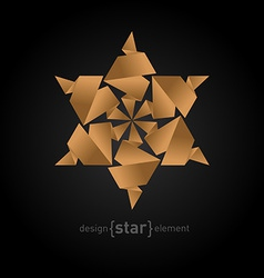 Origami star from old paper on black background vector