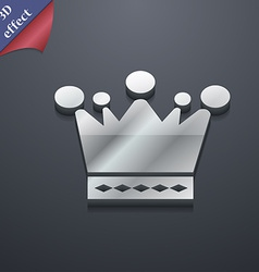 Crown icon symbol 3d style trendy modern design vector