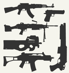 Silhouette of guns vector