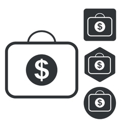 Dollar bag icon set monochrome vector