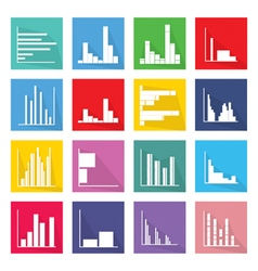 Collection of 16 Bar Chart Icons Banner vector image