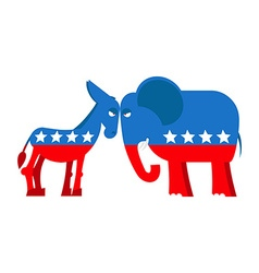 Donkey and elephant symbols of political parties vector