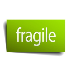 Fragile green paper sign isolated on white vector