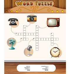 Word puzzle game template with antique objects vector