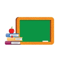 Blank blackboard with books and apple vector