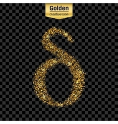 Gold glitter icon of alpha isolated on vector image