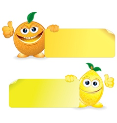 Orange and lemon with sign vector