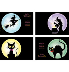 a set of four happy halloween vector image vector image