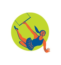 Acrobat flying trapeze act circle retro vector