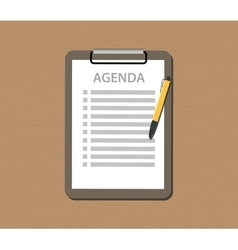 Agenda list with document and clipboard vector