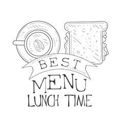 best cafe lunch menu promo sign in sketch style vector image
