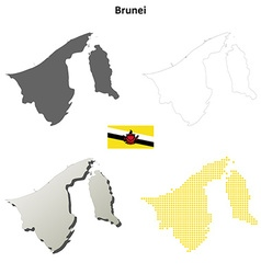 Brunei outline map set vector image vector image