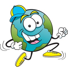 Cartoon Earth Running vector image