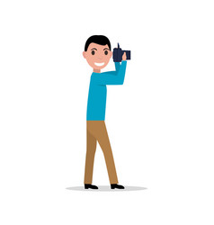 Cartoon man with photo camera vector